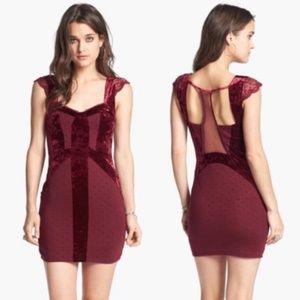 Free People Madeline Mini Dress Velvet Lace M